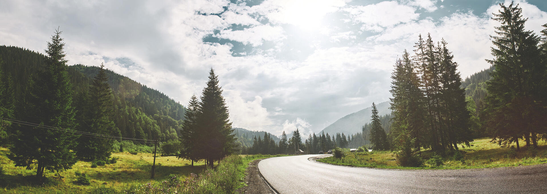 scenery mountain road in the Carpathians mountains, Ukraine