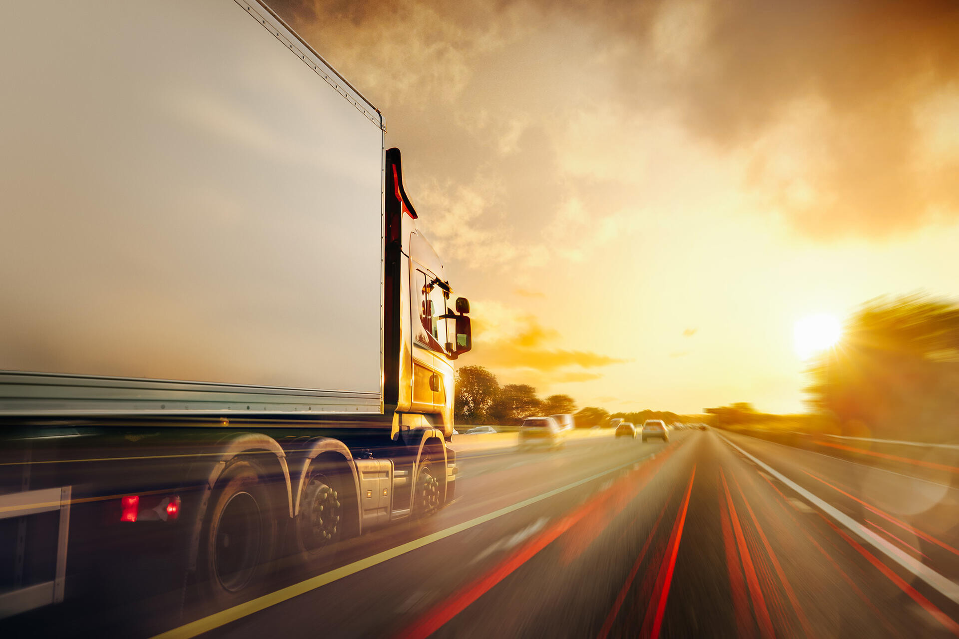 Lorry Cargo Transport Delivery in motion, United Kingdom M1 Motorway